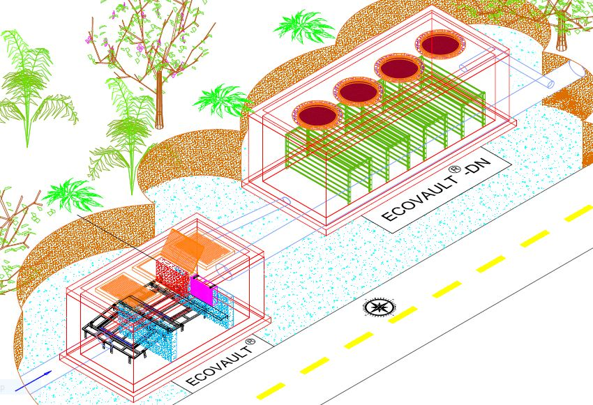 An example of an EcoVault-DN™ working in conjunction with a standard EcoVault® to maximize effectiveness of stormwater treatment.